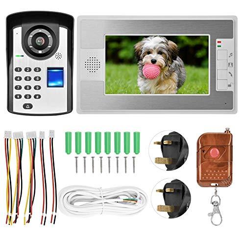 JUNYYANG Video Doorbell System, 7in TFT Video Portátil Teléfono Intercomunicador Timbre de Timbre Termonada Contraseña Desbloquear Visión Noche