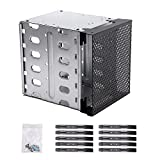 Stainless Steel Hard Drive Cage, 5.25' to 5x 3.5' Rack SAS for Computer SATA HDD Cage Rack, Hard Driver Tray with Fan Space - Hard Drive Cage Adapter Rack Bracket
