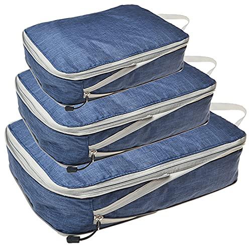 TTWLJJ Organizador de Equipaje,Set Impermeable Organizadores de Viaje para Maletas,3 Cubos de Embalaje Bolsa de Compresión para Bolsa de Almacenamiento en Casa,Navy Blue