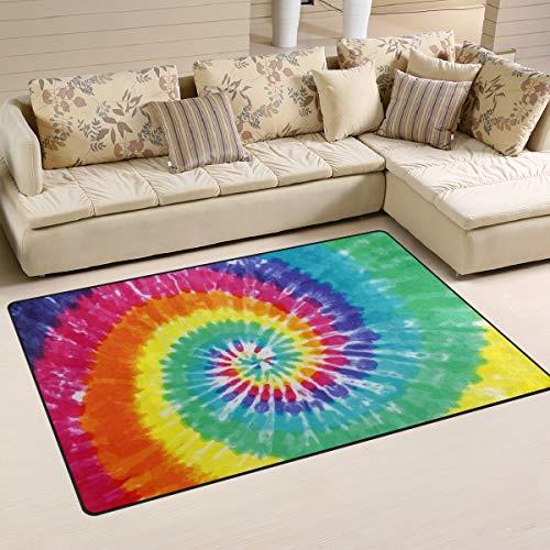 LZXO Teppich für Wohnzimmer, abstrakter Regenbogen-Wirbel, Batik-Teppich, strapazierfähiger Teppich, Schlafzimmer-Teppich, Fußmatte, 152 x 100 cm, Polyester, multi, 31x20in