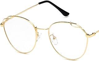 Unisex Glasses Frame Retro Gold Black Oval Full Frame Decoration Prescription Glasses