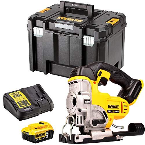 DEWALT DCS331N 18V Cordless Jigsaw with 1 x 5.0Ah Battery & Charger in Case, 400 W, 18 V, Yellow/Black