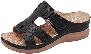 Mules Femmes Sandales Sabots Chaussons Chaussures en Cuir Mules à Plateforme Talon compensé Bout Ouvert Plage Vacances Tai...