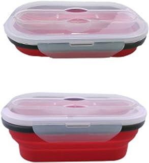Blackfell シリコーン折りたたみ式お弁当弁当箱新鮮な電子レンジ食器洗い機を保管するシリコーン食品箱食品保存容器