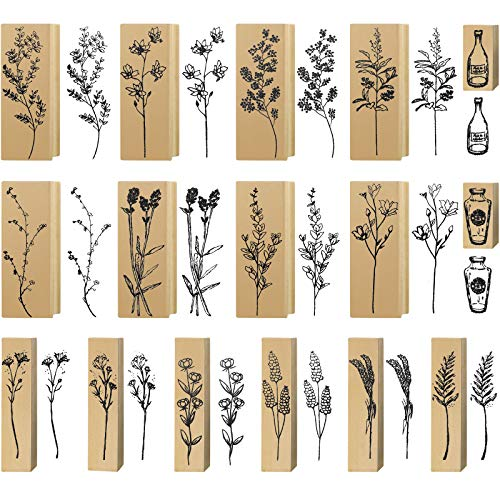 16 Pieces Wood Rubber Stamps Flower and Plant Decorative Rubber Stamp Vintage Wooden Mounted Stamp Set for DIY Crafting, Scrapbook, Painting, Letters Diary, Teaching and Card Making