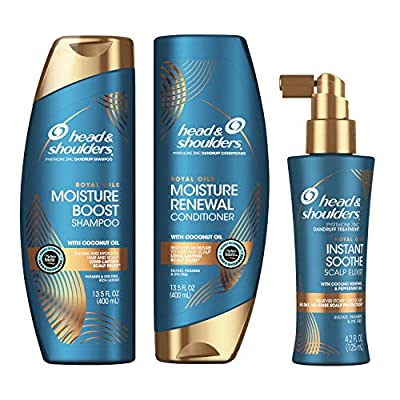 Head and Shoulders Shampoo, Conditioner, and Scalp Elixir Treatment Kit, Anti Dandruff, Royal Oils Collection with Coconut Oil, for Natural and Curly Hair, 13.5 oz, 13.5 oz, and 4.2 oz