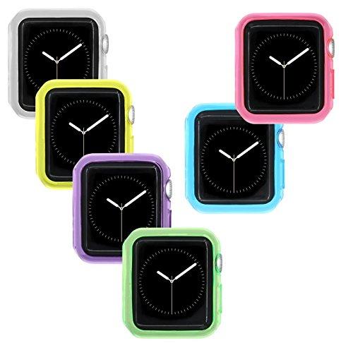 Funda para Apple Watch, 38 mm iWatch [6 Colores Transparentes],[Ultra-Delgado] Suave TPU Caso con 6 Piezas 0,125 mm Pet Protector de Pantalla para Apple Watch 38 mm (6 Unidades)