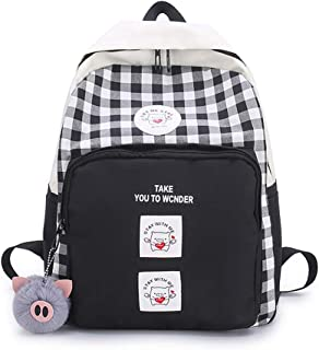 Korean Style College Plaid Backpack Cute Pig Pattern Daily Daypack Laptop Backpacks for Teenagers (Black)