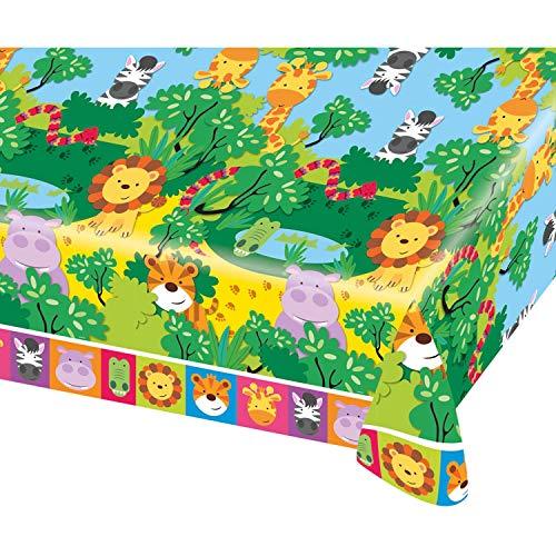 Amscan 9901918 - tafelkleed jungle dieren, 1 stuks, afmeting 120 x 180 cm, kunststof, waterafstotend, meerkleurige diermotieven, leeuw, tijger, giraf, nailpaard, kinderparty, themafeest, verjaardag