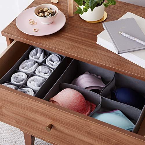 AmazonBasics Grey Dresser Drawer Storage Organizer for Undergarments, Set of 4