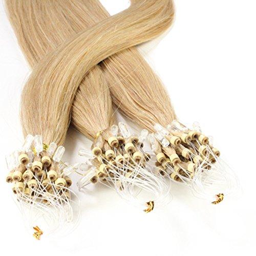 hair2heart 50 x Microring Loop Extensions aus Echthaar, 50cm, 1g Strähnen, glatt - Farbe 18 haselnuss