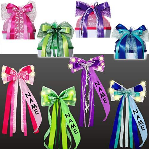 alles-meine.de GmbH große - Licht & Leucht - LED Schleife - für Schultüte - pink / rosa & weiß - inkl. Name - 65 cm lang - mit edlen Satin Bändern + Glitzer - Tüllband + Schmette..