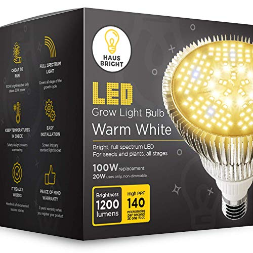 LED Grow Light Bulb - for Indoor Plants Full Spectrum Lamp   Seed Starting, House, Garden, Vegetable, Succulent, Hydroponic, Greenhouse & Medicinal Growing   100W E27 Warm White by Haus Bright