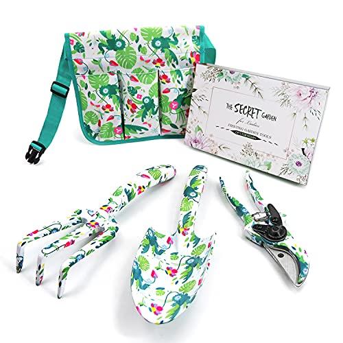 Hortem 4-teiliges Gartengeräte für Frauen mit Blumendruck, inklusive Kelle, Kultivator und Gartenschere, Aluminium-Gartengeräte-Set, Geschenke für Damen (grün)