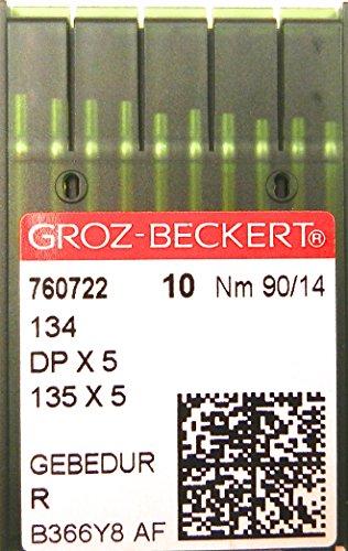 GROZ-BECKERT Confezione da aghi B 27/tondo con pistone e punta rotonda per macchina da cucire industriale macchine da cucire Nm 75//11