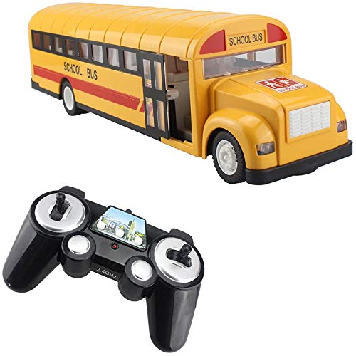 Toy RC Vehicles, RC School Bus Remote Control Car Vehicles 6 Ch 2.4G Opening Doors Acceleration & Deceleration Toys with Simulated Sounds and LED Lights CCM