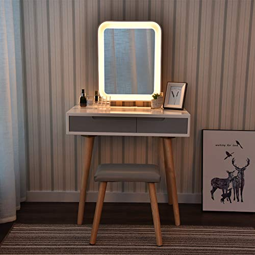 YU YUSING Schminktisch LED-Beleuchtung Kosmetiktisch mit gepolstertem Hocker Frisiertisch Spiegel Schublade Kommode Make-up Tisch, Wohnzimmer, Modern (Rechteck)