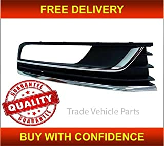Trade Vehicle Parts FD4059 Front Bumper Fog Grille With Chrome Fog Hole Passenger Side