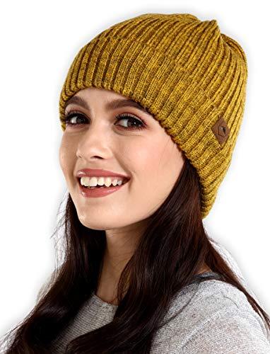 Winter Beanie Knit Hats for Men & Women - Cold Weather Stylish Toboggan Skull Cap Mustard