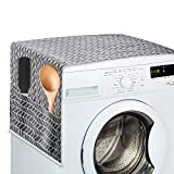Washing Machine Top Cover,Washer And Dryer Top Covers, Fridge Dust Proof Cover, Front Load with 4 Storage Pockets - Grey