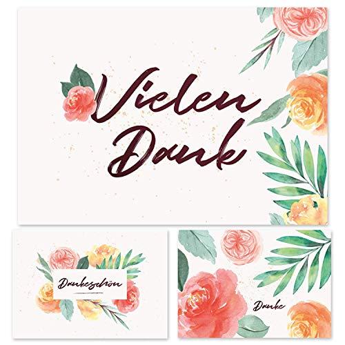 12 Dankeskarten, Dankeskarten Blumen, Dankeschön Karten, Danksagungskarten Konfirmation Hochzeit, Karte Abschied Kollege Kollegin, Karte Danke, Postkarte Danke, Vielen Dank