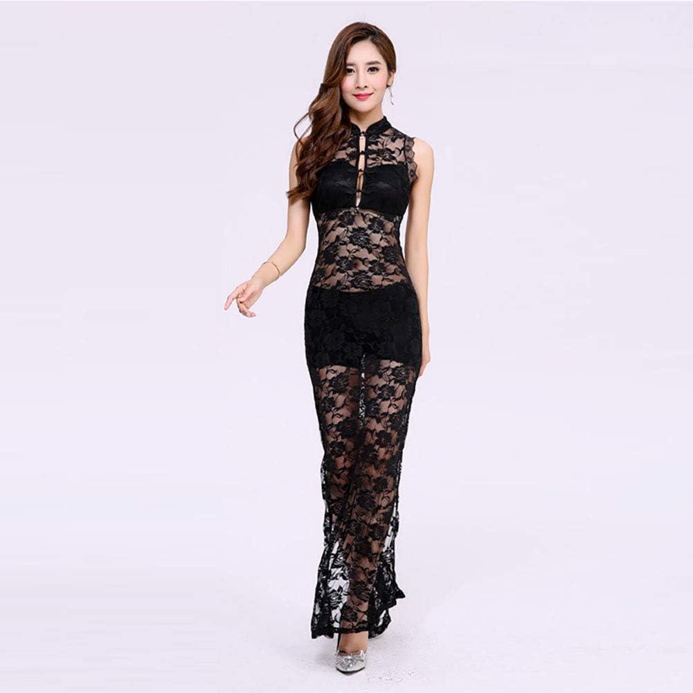 Vintage Long Sleeve Floral Lace Cheongsam Dress Elegant Mandarin Collar Side Slit Bodycon Midi Dress Womens Formal Wear