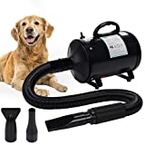 winniehome 3.2HP Pet Grooming Hair Dryer for Dogs and Cats, High Velocity Hairdryer Blaster Fur Blower with Hose,has 3 Nozzle Options(Bright Black)