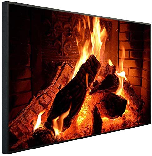 Ecowelle Infrarotheizung mit Bild | 500 Watt | 80x60x3cm | Infrarot Heizung| | Made in Germany | i 4 Kaminfeuer