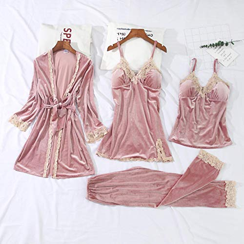 Pijamas Conjuntos De Bata Y Bata De Terciopelo Dorado 3-6 Piezas Conjuntos De Pijamas De Invierno Cálidos para Mujer Pijamas De Bata De Encaje Sexy Ropa De Dormir Ropa De Dormir Ropa De Casa L Pi