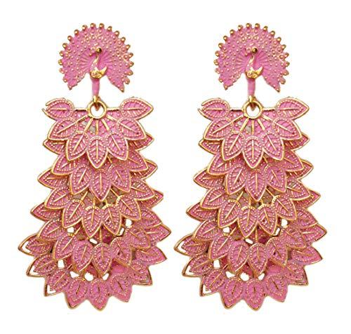 Pahal - Pendientes largos de oro con capas de estilo jhumka de pavo real de la India del sur de Bollywood para fiestas