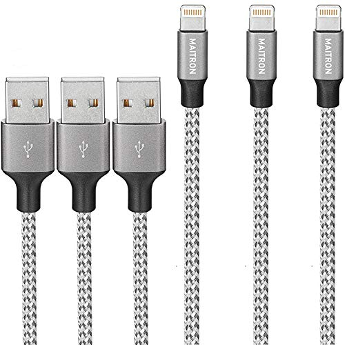 Maitron iPhone Charger, 3PACK 6FT Nylon Braided Lightning Cable Fast Charging High Speed Data Sync Cord Compatible with iPhoneX 8 8Plus 7 7Plus 6s 6sPlus 6 6Plus 5 5s 5c SE iPad iPod and More,White