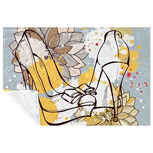 BestIdeas Manta suave y cálida con estampado de flores de acuarela para sofá, picnic, camping, playa, 150 x 100 cm