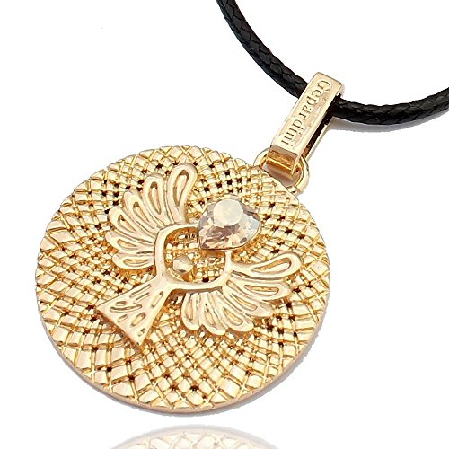 Gepardini Schutzengel Amulett Halskette mit SWAROVSKI® Edition Kristalle (silber, gold, roségold) Handarbeit mit Zertifikat (Vergoldet)