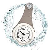 ufengke Horloge Murale Salle de Bain Petit Gris Pendule Quartz Deco étanche avec Ventouse pour Salon Cuisine, 10.5 x 22 x 4.5cm