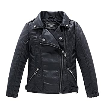 LJYH Children Collar Motorcycle Faux Leather Coats Kids Bomber PU Soft Leather Jackets Black 7-8yrs