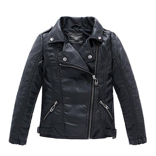 LJYH Children's Collar Motorcycle Leather Coat Boys Leather Jacket Black 7/8 (130)