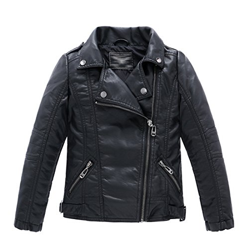LJYH Children's Collar Motorcycle Leather Coat Boys Leather Jacket Black T3-4