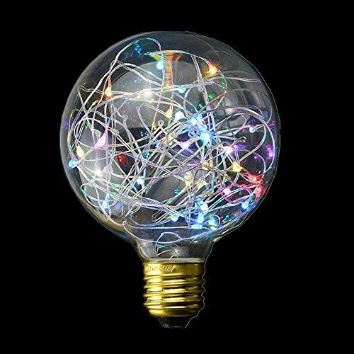 Led G95 ampoules à filament vintage, Kingco E27 3 W 300LM antique Globe Edison Ampoule LED Starry Artifice industriel spirale Motif lumière pour Home Festival décoratifs, Verre, coloré 3.00 wattsW