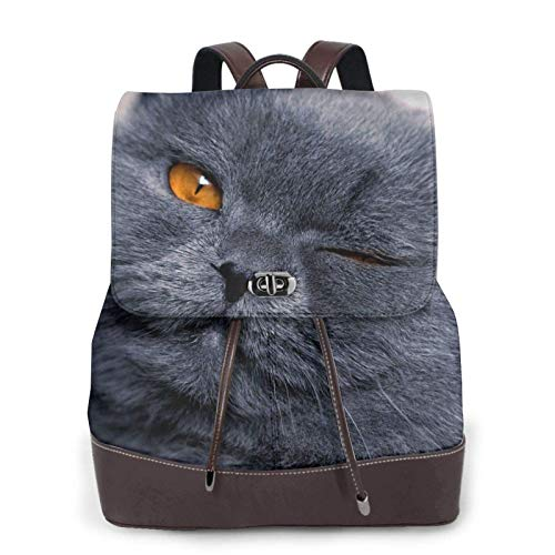 Women's Casual Leather Backpack Durable School Backpack, Cats With Yellow Eyes Printed Bookbag Fashion Travel Shoulder Bag