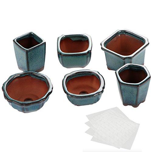 Happy Bonsai - Set di 6 mini vasi smaltati + 6 schermi di drenaggio in rete morbida