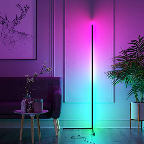 Kōnā Floor Lamp Colour Changing 140cm Tall Minimalist Nordic LED RGB Corner Lamp with Dimmable Remote Controller (Black)