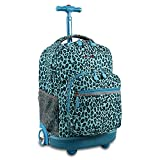 J World New York Sunrise Rolling Backpack, Mint Leopard, 18'