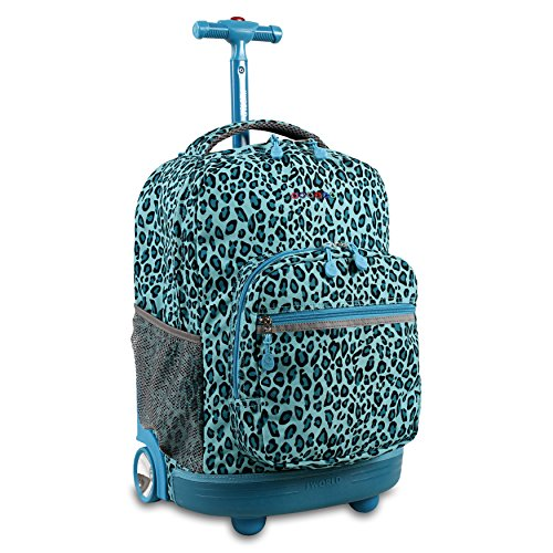 "J World New York Sunrise Rolling Backpack. Roller Bag with Wheels, Mint Leopard, 18"""