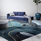 Kunsen Alfombra de Lujo Azul geométrico clásico Alfombra Duradera Resistente a la Suciedad Lavable fácil de Limpiar Antideslizante alfombras Online Baratas recibidores Modernos Alfombra 180X250CM