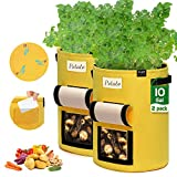 JOYXEON Potato Grow Bags, 2-Pack 10 Gallon Plant Growing Bags Thickened Non-woven Aeration Fabric Pots with Window Flap,Handles,Label Holder,3 Drainage Holes for Potato,Tomato,Carrot