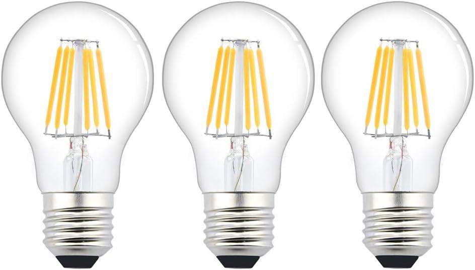 Bombillas LED A60 E27 6W Bajo Voltaje AC/DC 12-24 V Blanco Frío 6000K 600lm LED lámpara de filamento ES Edison vintage 60 W equivalente CRI 80+ para RV caravana marina 3 unidades