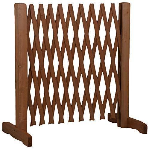 Dokado Hundezaun aus Holz, ausziehbare Breite 30-117 cm, freistehendes Absperrgitter für Hunde