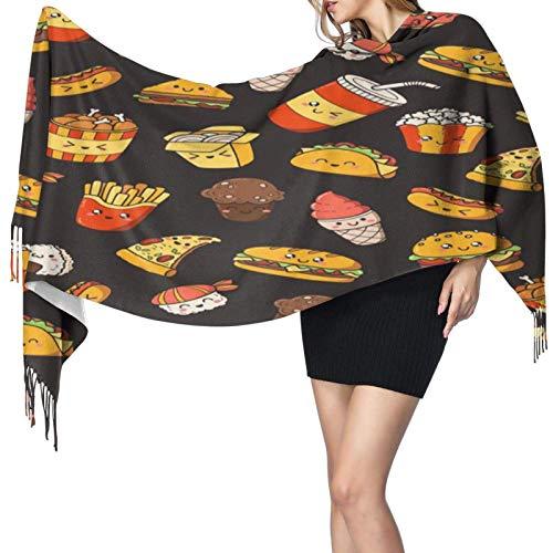Bufandas tipo chal para mujer, mochilas para perros calientes, chal largo para pizza con borla, chal cálido para invierno, bufandas, manta suave, bufanda para actividades en interiores y exteriores