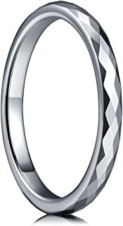 Multi-Faceted Tungsten Wedding Rings 2mm 4mm 6mm Rose Gold Silver Bands for Men Women