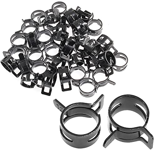 Rierdge 40 Pcs 1/2 Inch ID Spring Band Type Clamps, 12mm Fuel Hose Clamps Fasteners, Black Spring Hose Clip for Fuel Hose Line Water Pipe Air Tube Silicone Hose